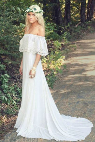 A Line Off the Shoulder Bohemian Lace Chiffon Ivory Summer Beach Wedding Dresses PH712