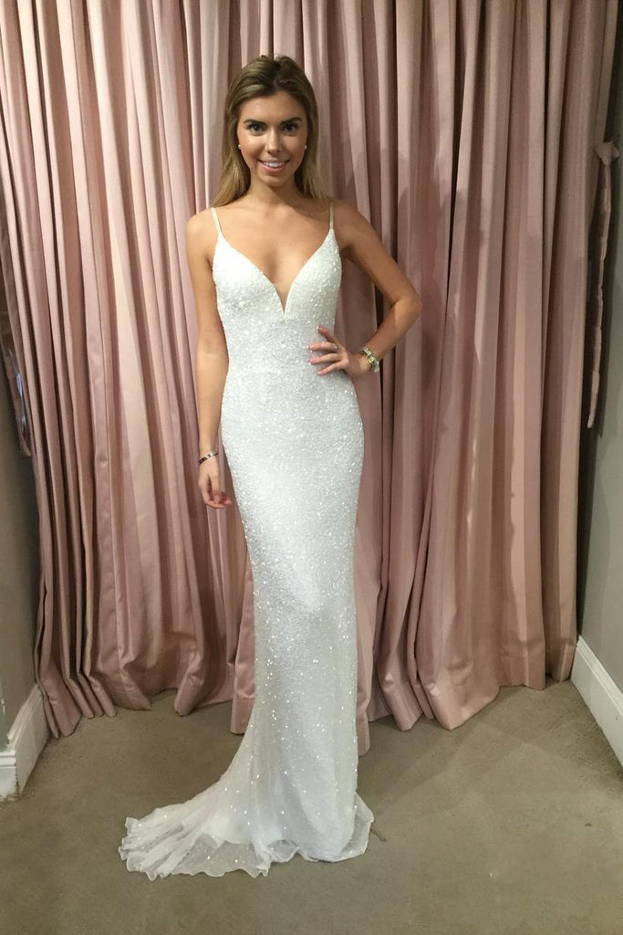 Sexy Mermaid Spaghetti Straps Sequins V Neck Prom Dresses, Wedding Dresses W1252