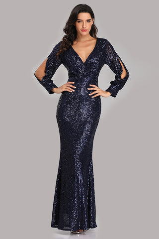 Long Split Sleeve Mermaid V Neck Dark Navy Blue Sequins Prom Dresses, Formal Dress XU90814