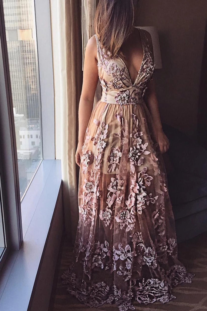 Deep V Neck Lace Applique A-line Prom Dresses, Beads Long Formal Dresses P1253