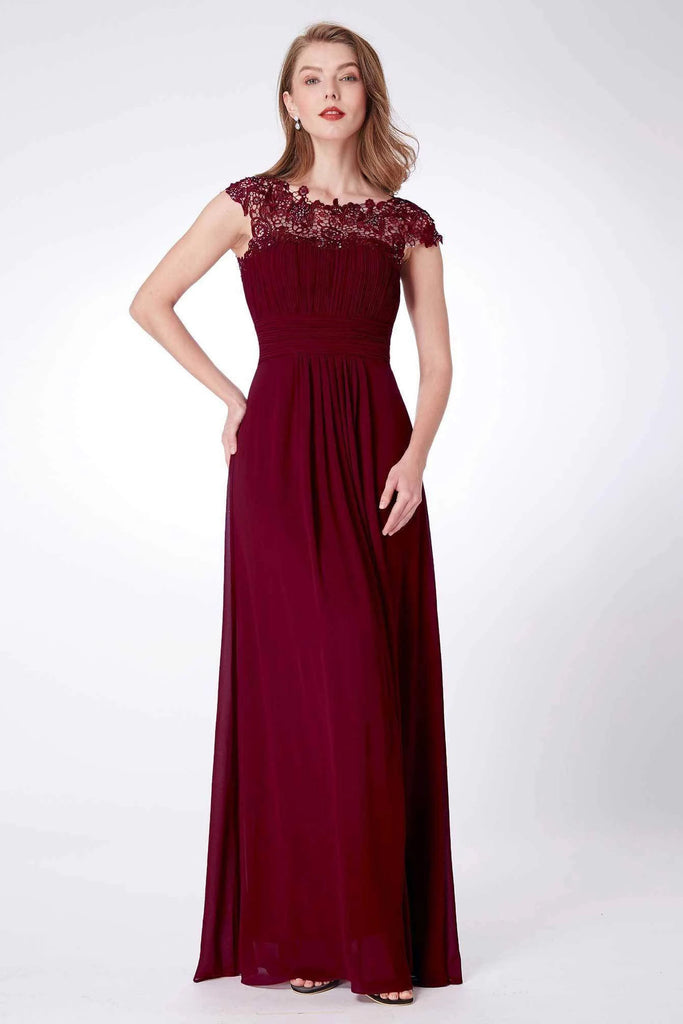 Elegant A Line Cap Sleeve Burgundy Lace Prom Dresses with Lace, Bridesmaid Dresses P1176