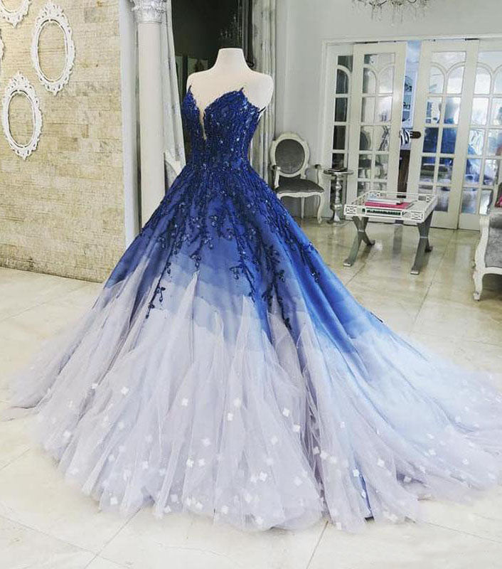Ombre Ball Gown Royal Blue Appliques V Neck Prom Quinceanera