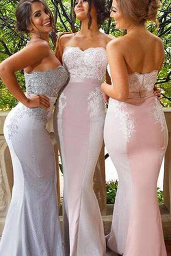 Lace Cheap Long Strapless Mermaid Appliques Backless Custom Bridesmaid Dresses PH257