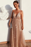 Flowy A Line Spaghetti Straps Long V Neck Prom Dresses with Sequins P1208