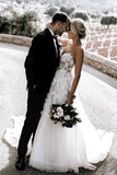 Charming Ball Gown Sweetheart Strapless 3D Flowers Tulle Off White Wedding Dresses W1125