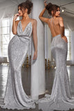 Sexy Mermaid Deep Neck Halter Backless Sequins Prom Dresses Long Formal Dresses P1207