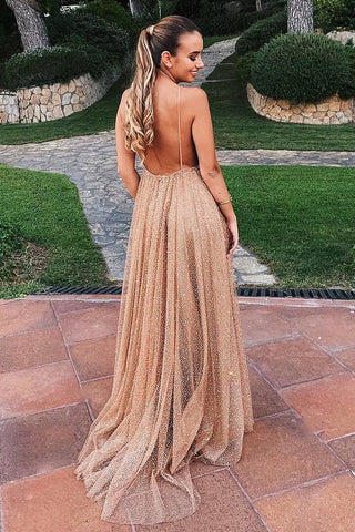 Flowy A Line Spaghetti Straps Champagne V Neck Prom Dresses with Sequins P1208