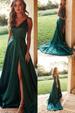 Simple Green Spaghetti Straps Satin Long Prom Dresses, Cheap Evening Dresses P1531