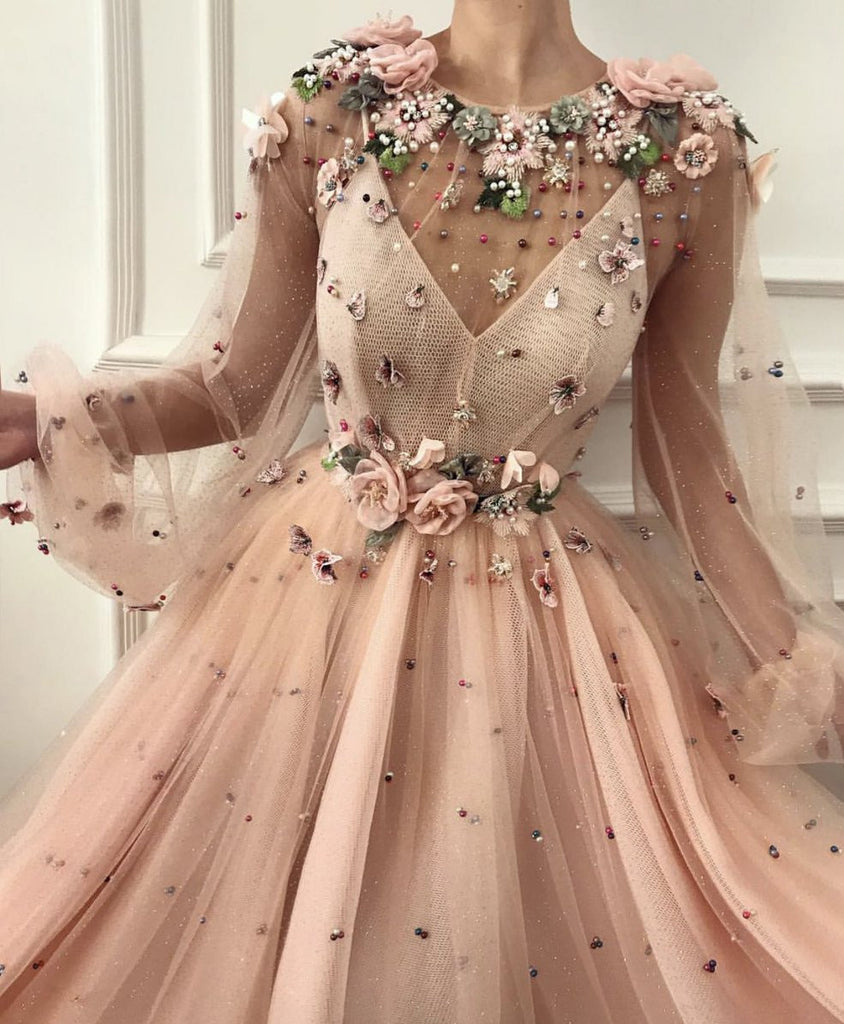 Charming A Line Long Sleeve Long Party Dresses Flowers Tulle Beads Formal Dresses P1266