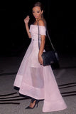 A-line Off-the-Shoulder Organza Ruffles Asymmetrical Backless High Low Prom Dresses uk PM808