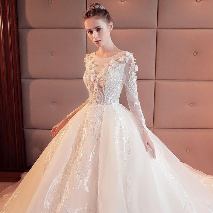 2018 Gorgeous Scoop Lace Appliques Flowers White Organza Long Sleeve Wedding Dresses uk PH177
