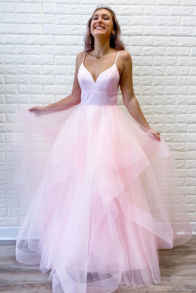 Simple Pink Tulle Ruffles Spaghetti Straps V Neck Prom Dresses, Long Formal Dresses P1576