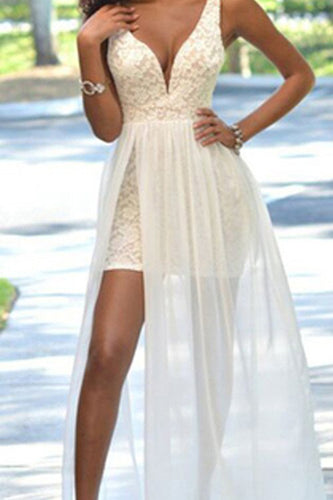 Cheap Popular Backless Sleeveless V-Neck Simple Ivory Lace Side Slit Chiffon Prom Dresses uk PH188
