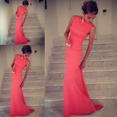 Charming Mermaid High Neck Sleeveless Scoop Backless Pink Satin Long Pink Prom Dresses uk BO41