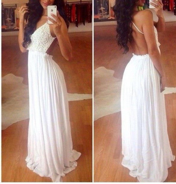 Custom Made 2017 Sexy Long Prom Dresses ,Women Evening Dresses,backless prom dress,lace prom dress