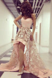 Charming Strapless Sweetheart Lace High Low Appliques A-line Tulle Prom Dresses uk PM128