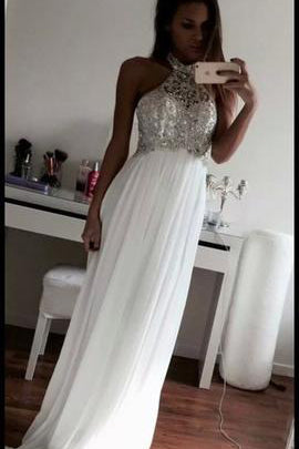 Gorgeous High Quality A-Line Sleeveless Beading Long Halter Chiffon Prom Dresses uk PM127