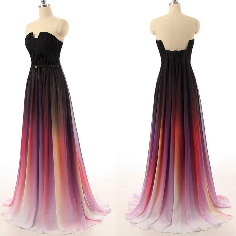 Long Sexy Gradient Ombre Sleeveless Black Navy Blue Chiffon A-Line Prom Dresses uk PM161