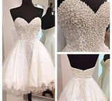 White Short Homecoming Gown,Tulle Homecoming Gowns,Ball Gown Sweetheart Party Dress PM915