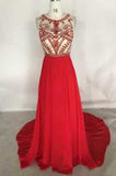 Gorgeous Red High Neck Sleeveless A-Line Beaded Bodice Chiffon Long Prom Dresses uk PM828