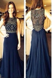 Long Navy Chiffon Beading Sleeveless A-Line Scoop Long Evening Dress,Prom Dresses uk PM716