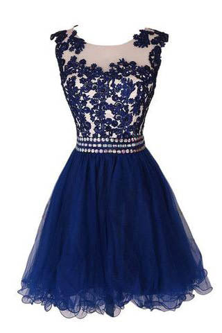 Navy Blue Lace Short Prom Dress With Waist Beads Royal Blue Mini Length Homecoming Dress PM891