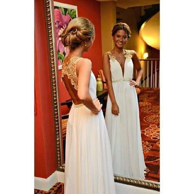 New Arrival Gold Lace Ivory Backless Long Open Back Deep V Neck Cheap Wedding Dresses uk PM996