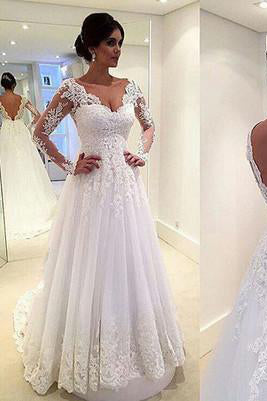 Long Sleeves White Lace Wedding Dresses V Neck Beach Dress Bridal Gowns
