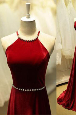 Cheap Pearl High Quality Gorgeous A-Line Satin Halter Backless Floor-Length Prom Dresses uk PM179