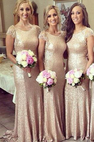 sparkle long champagne sequin bridesmaid dress,lace sleeves bridesmaid dress PM717