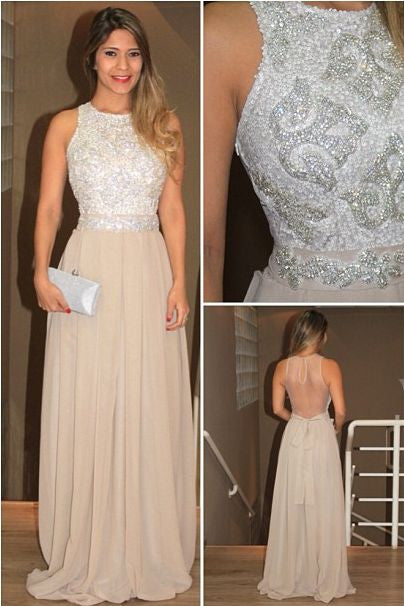 champagne long  prom dress, charming sparkle backless prom dress 2017