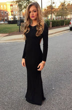 New Style Black Elegant Mermaid Simple Scoop Prom Dresses uk with Long Sleeves For Teens PH28