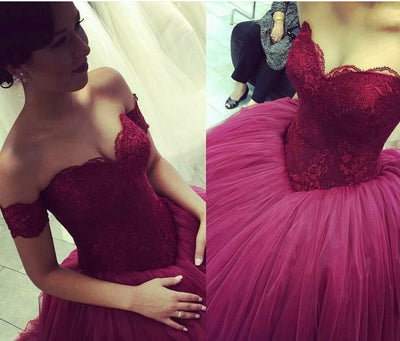New Design Ball Gown Off the Shoulder Sweetheart Tulle Lace Sexy Prom Dresses uk PM143