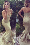 long gold sequin sparkle mermaid charming prom dress,sweetheart prom dress,141509