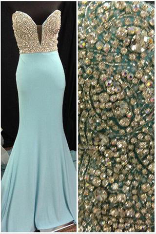 Gorgeous Long Blue Sweetheart Mermaid Elegant Beading Strapless Prom Dresses uk PM153