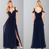 Navy Blue Off-The-Shoulder Long Chiffon Formal With Straps Sleeves Modest Bridesmaid Gown PH77