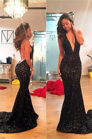 Black Mermaid Backless Sexy Long Open Back Sequins Deep V-Neck Halter Prom Dresses uk PM175