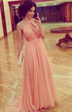 Cheap A line Sleeveless High Neck Open Back Cap Sleeve Chiffon Coral Prom Dresses uk PM827