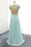 Elegant V-Neck Beading Backless Long Party Dresses,Simple Prom Gowns PM763