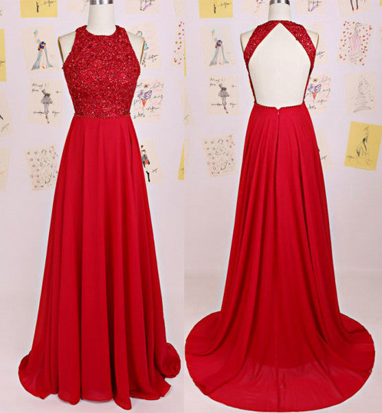 Charming O-Neck A-Line Beading A-Line Red Floor-Length Chiffon Backless Prom Dresses uk PM129