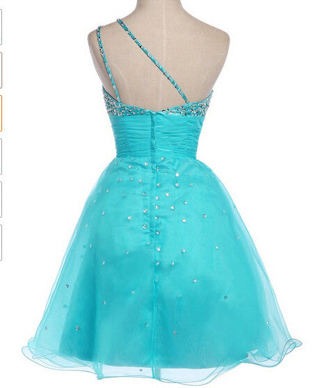 Gorgeous Sexy Short Prom Dresses,One Shoulder Beading Strapless Homecoming Dresses