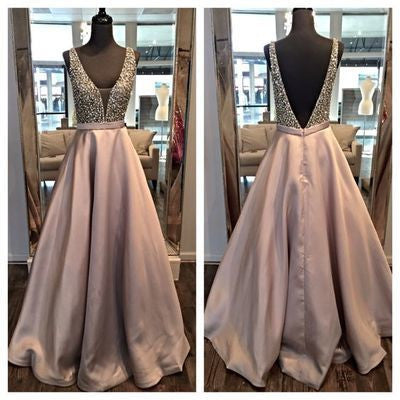 Deep V-neck Open Back Long Prom Dresses,Pretty Evening Dresses For Teens PM974