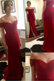 Off the Shoulder Red Floor-Length Real Made Slit Sweetheart Charming Prom Dresses uk XC15