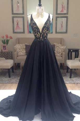 New Arrival Deep V-Neck Lace Chiffon Elegant A-line Black Long Open Back Prom Dresses uk PM822
