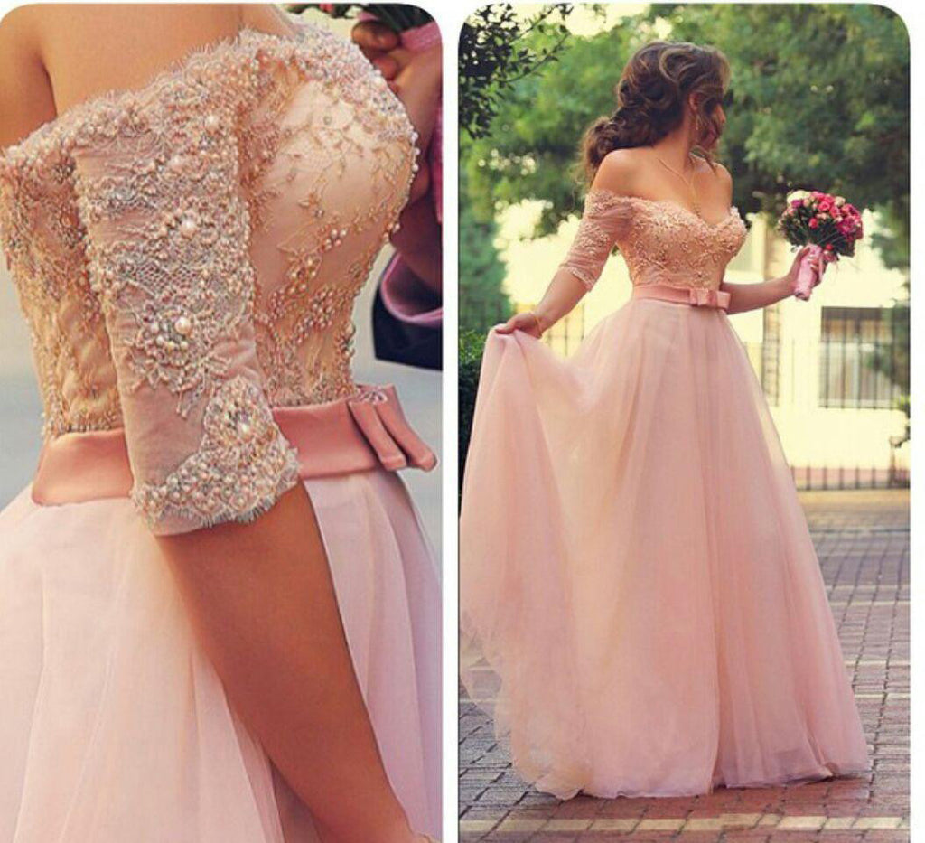 Off Shoulder Half Sleeves Pink Long Party Sweetheart Sash Bow Beads Pearls Prom Dresses uk PM720