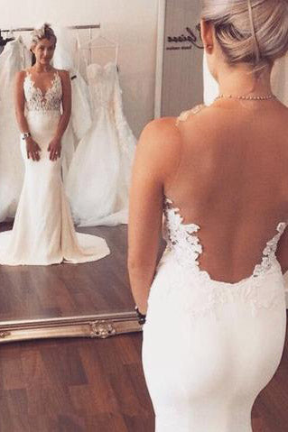 Charming Mermaid Wedding Dresses,Long See Through Wedding Dresses,Wedding Dresses,WD01