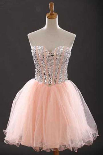 Sweetheart Beading Tulle Sleeveless Short Cocktail Dress Charming Homecoming Dresses,XT278