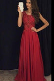 A Line Red  Appliques Chiffon Long Beads Sweetheart Sleeveless Floor-Length Prom Dresses uk PM180