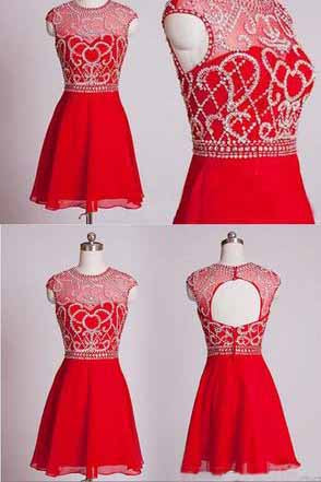 Red Short Homecoming Dresses,Homecoming Gown,Party Dress,Sparkle Prom Gown PM916