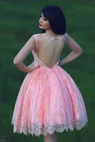 Lace Pink Homecoming Dress,Lace Short Prom Dress,Country Homecoming Gowns PM903